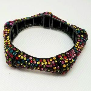 Jewelry - Multi Color Rhinestone Stretch Bracelet. LIKE NEW!
